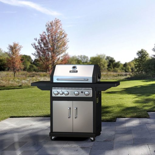 Lifestyle shot of the Dyna-Glo 4 Burner LP Gas Grill - Stainless Steel - DGA480SSP-D