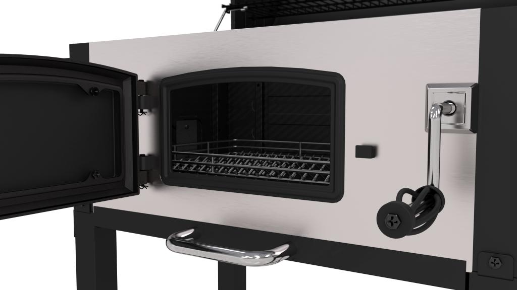 Door open on Dyna-Glo Heavy-Duty Charcoal Grill - Stainless Steel - DGN486SNC-D