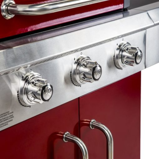 Ignition and Control knobs of the Dyna Glo 3 Burner Red LP Gas Grill - DGG424RNP-D