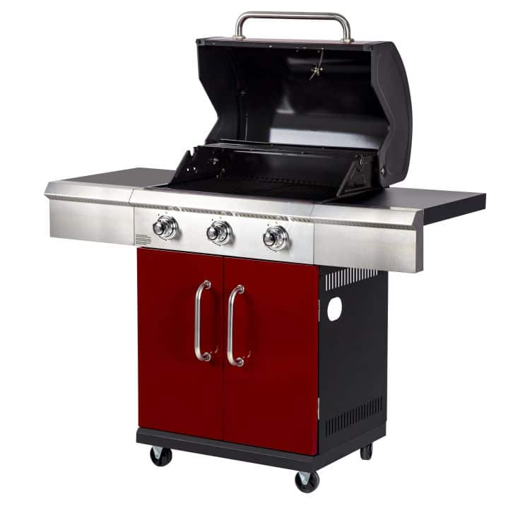 Open hood on the Dyna Glo 3 Burner Red LP Gas Grill - DGG424RNP-D