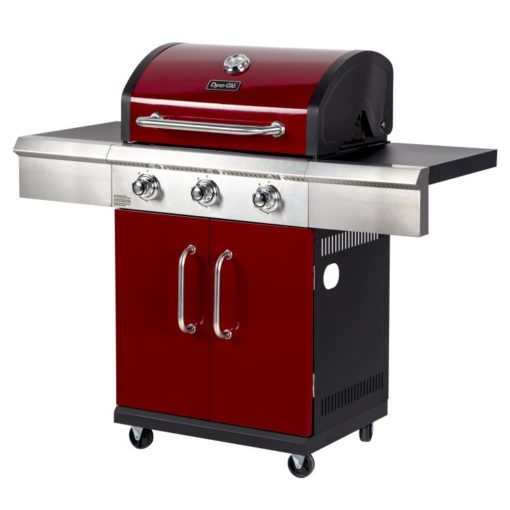 Side angle view of the Dyna Glo 3 Burner Red LP Gas Grill - DGG424RNP-D
