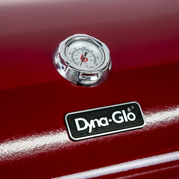 Thermometer on the Dyna Glo 3 Burner Red LP Gas Grill - DGG424RNP-D