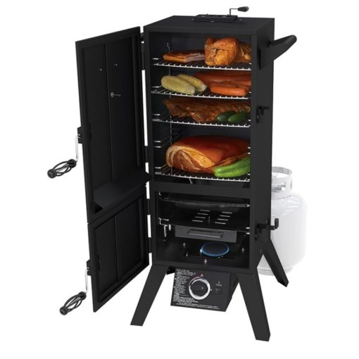 Dyna-Glo 36 inch Dual Door LP Gas Smoker DGY784BDP - product with food