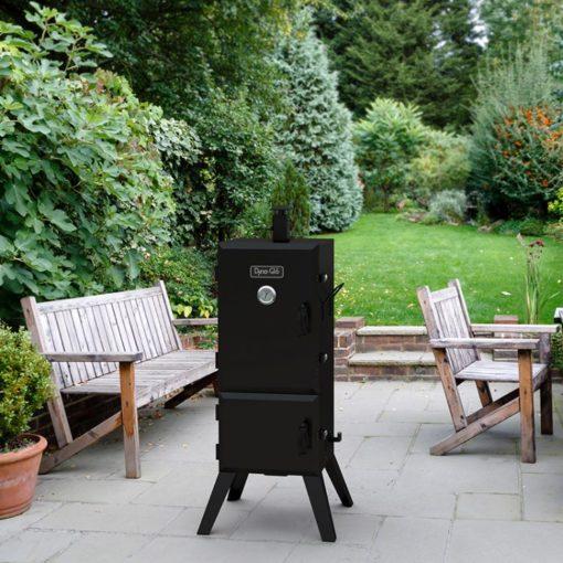 Dyna-Glo 36 inch Vertical Charcoal Smoker DGX780BDC-D - lifestyle shot