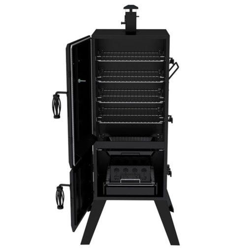 Dyna-Glo 36 inch Vertical Charcoal Smoker DGX780BDC-D open doors