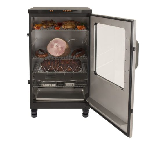 Dyna-Glo 40 inch Single Door Digital Bluetooth Electric Smoker - DGU951SSE-D - with food