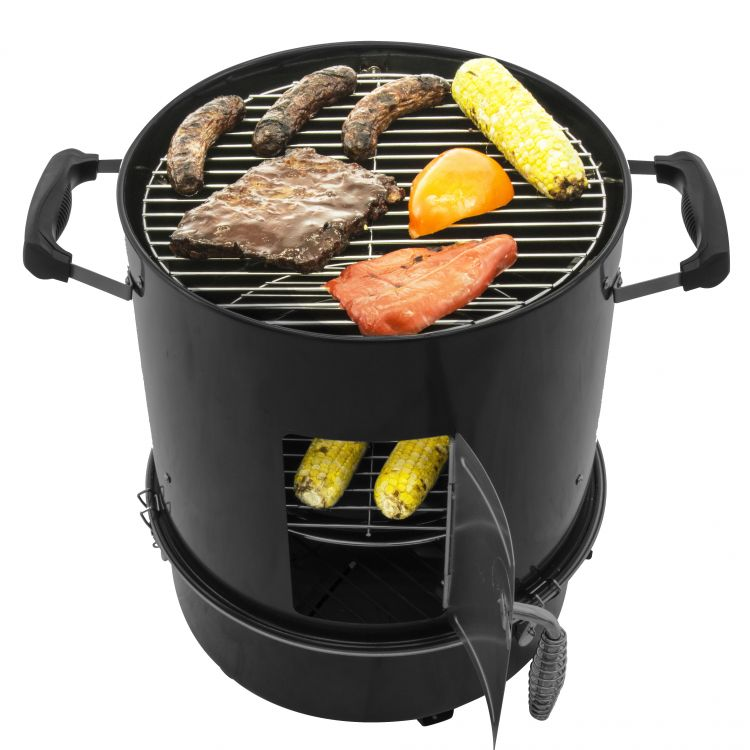 Dyna-Glo Black Compact Charcoal Smoker and Grill-DGX376BCS-D-open shot