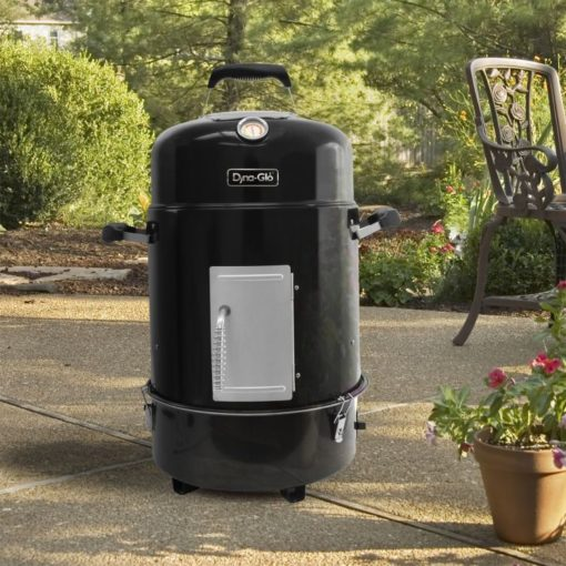 Lifestyle shot of the Dyna-Glo DGVS390GC-D Compact Charcoal Bullet Smoker