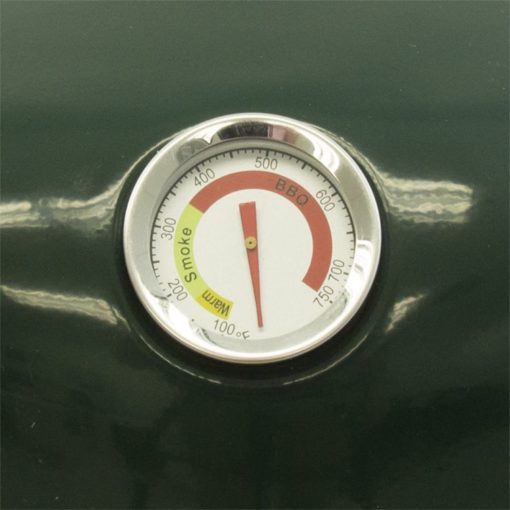 Temp gauge of the Dyna-Glo DGVS390GC-D Compact Charcoal Bullet Smoker