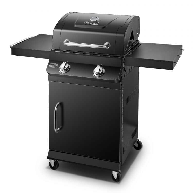 Side angle of the Dyna Glo Premier 2 Burner Propane Gas Grill - DGP321CNP-D