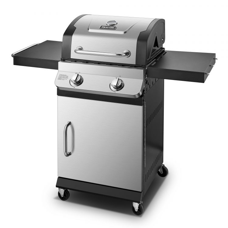 Side angle of the Dyna Glo Premier 2 Burner Propane Gas Grill - DGP321SNP-D