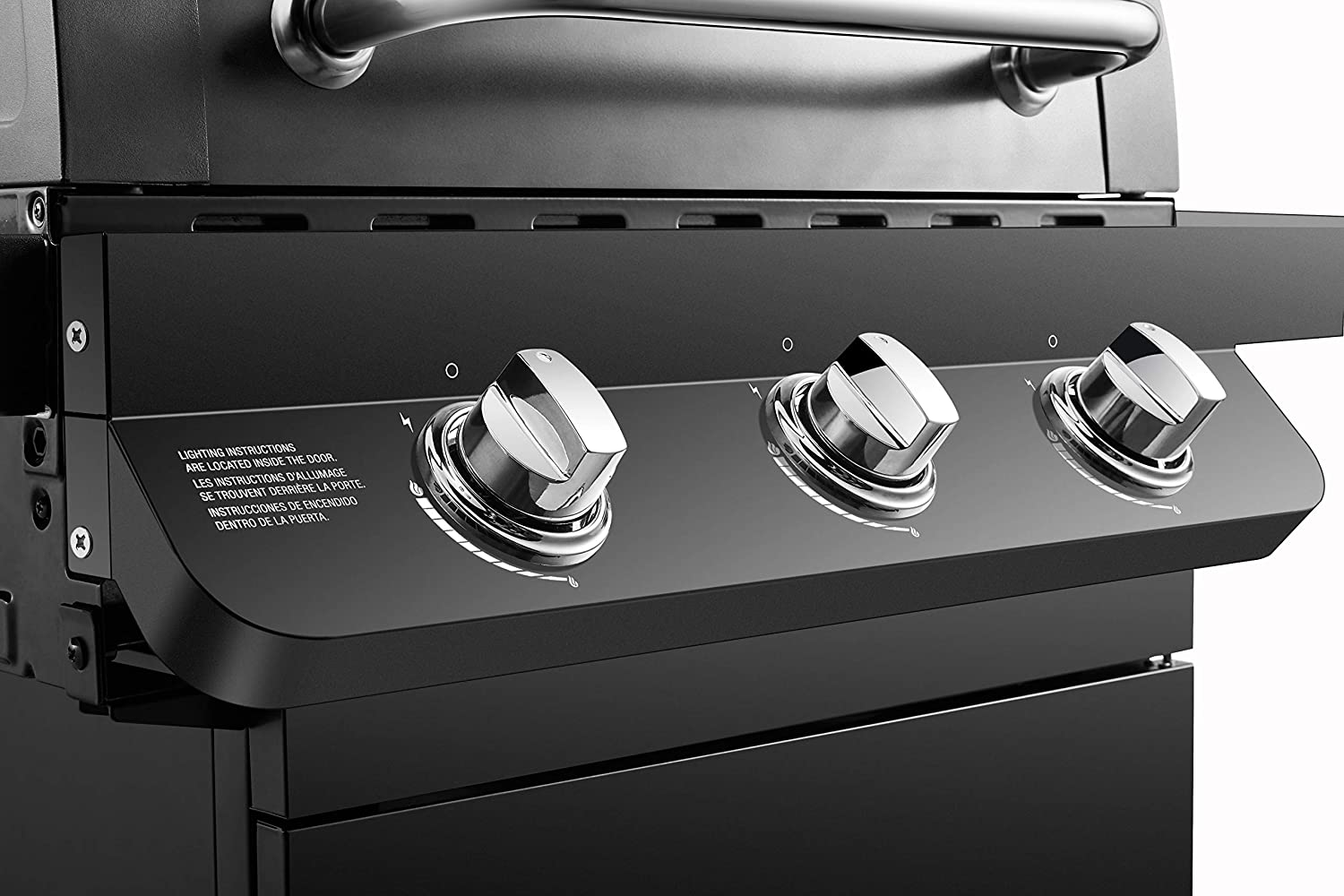 Ignition and control knobs on the Dyna-Glo Premier 3 Burner Propane Gas Grill - Black DGP397CNP-D