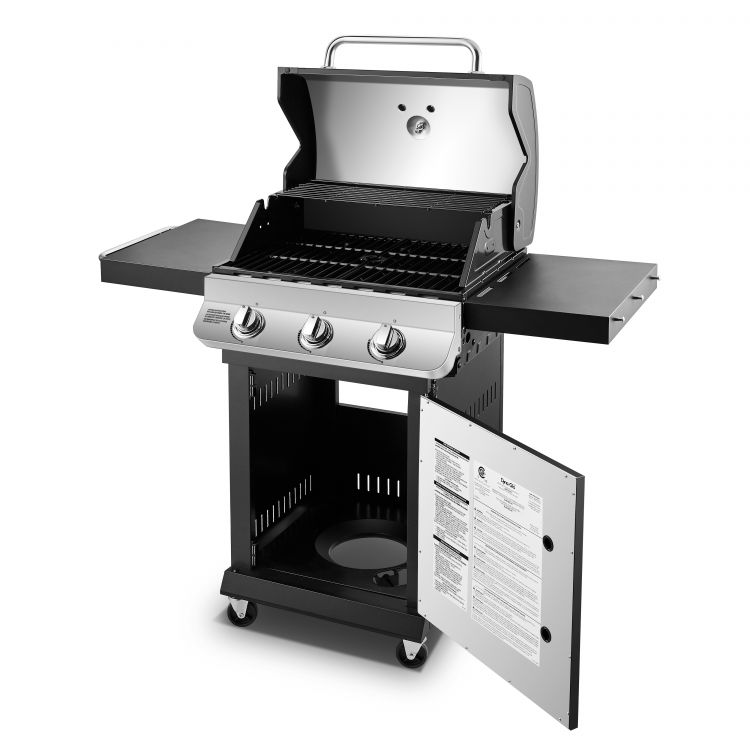 Open hood and base on the Dyna-Glo Premier 3 Burner Propane Gas Grill - Stainless DGP397SNP-D