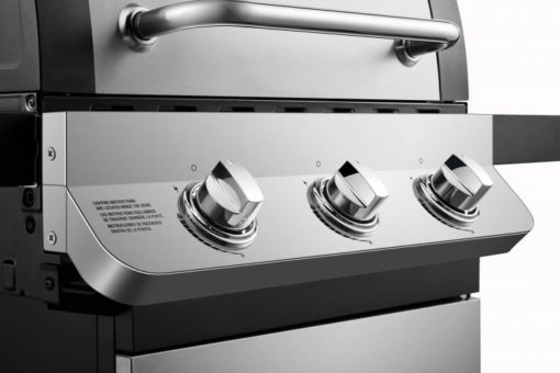Ignition and control knobs on the Dyna-Glo Premier 3 Burner Propane Gas Grill - Stainless DGP397SNP-D