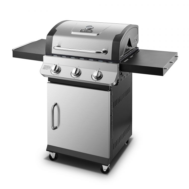 Side view of the Dyna-Glo Premier 3 Burner Propane Gas Grill - Stainless DGP397SNP-D