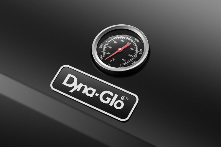 Thermometer on the Dyna Glo Premier 4 Burner Propane Gas Grill - DGP483CSP-D