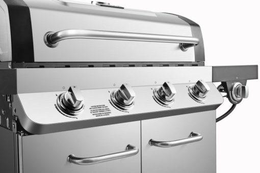Ignition and control knobs on the Dyna Glo Premier 4 Burner Propane Gas Grill - DGP483SSP-D