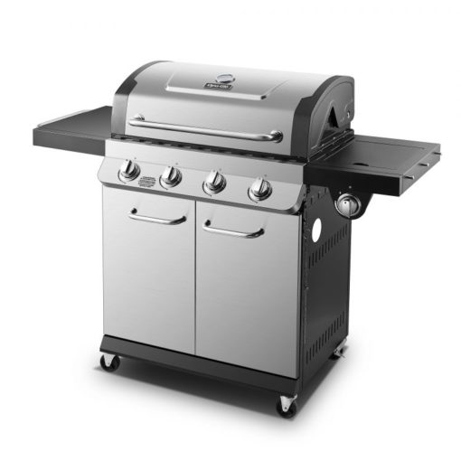 Side angle view of the Dyna Glo Premier 4 Burner Propane Gas Grill - DGP483SSP-D