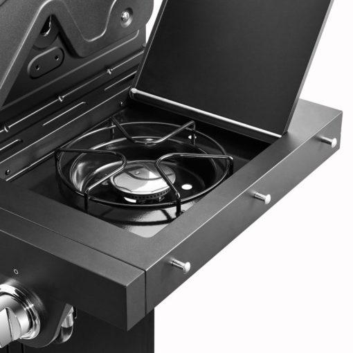Side burner with hooks on the Dyna Glo Premier 4 Burner Propane Gas Grill - DGP483SSP-D