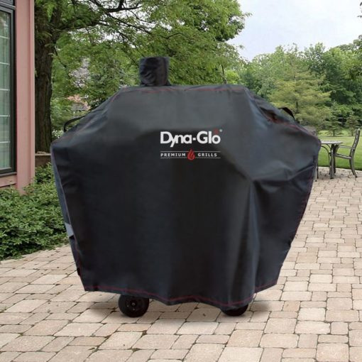 Lifestyle shot of the Dyna-Glo Premium Medium Charcoal Grill Cover - DG405CC