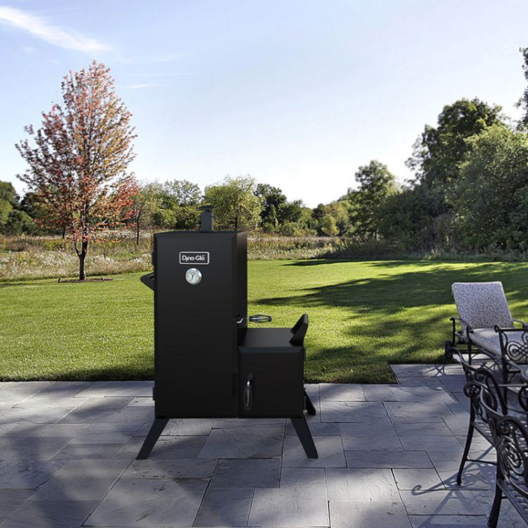 Dyna-Glo Vertical Offset Charcoal Smoker DGO1176BDC-D - lifestyle shot
