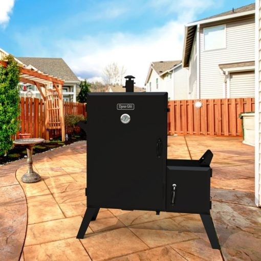 Dyna-Glo Wide Body Vertical Offset Charcoal Smoker DGO1890BDC-D - lifestyle shot