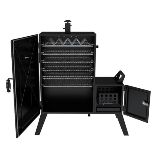 Dyna-Glo Wide Body Vertical Offset Charcoal Smoker DGO1890BDC-D - open doors
