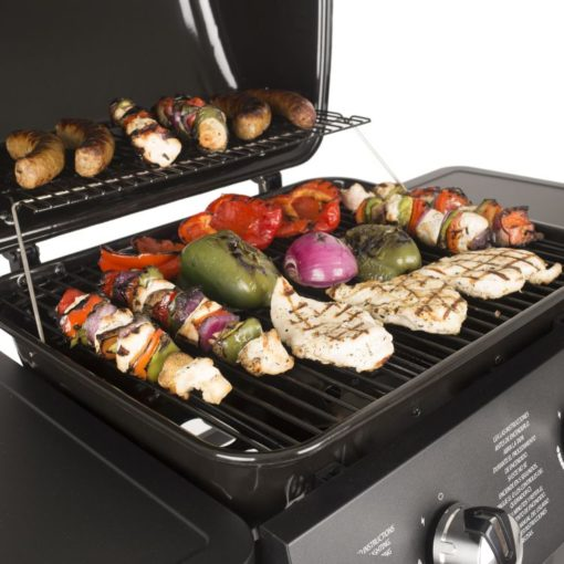 Cooking a feast on the Dyna-Glo 2 Burner Open Cart Propane Gas Grill - DGB300CNP-D