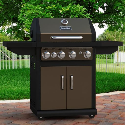 Lifestyle shot of the Dyna-Glo 4 Burner LP Gas Grill - Bronze - DGA480BSP
