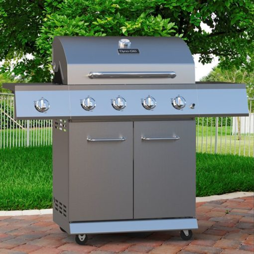 Lifestyle shot of the Dyna-Glo 4 Burner Stainless LP Gas Grill - DGE486SSP-D