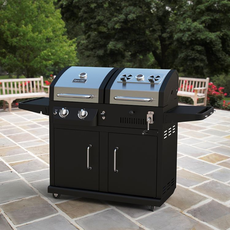 Lifestyle shot of Dyna-Glo Dual Fuel Grill - DGB730SNB-D-KIT