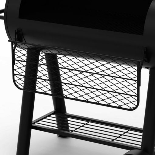 Fold down tray Dyna-Glo Signature Series Barrel Charcoal Grill and Offset Smoker - DGSS962CBO-D