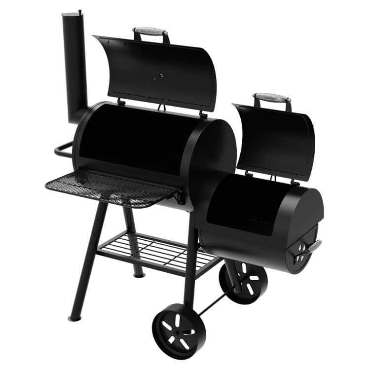 Open lid Dyna-Glo Signature Series Barrel Charcoal Grill and Offset Smoker - DGSS730CBO-D-KIT
