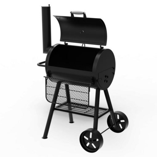 Open lid Dyna-Glo Signature Series Heavy-Duty Compact Barrel Charcoal Grill - DGSS443CB-D